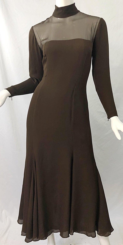 1970s Nolan Miller Couture Chocolate Brown Silk Chiffon Vintage 70s Midi Dress For Sale 5