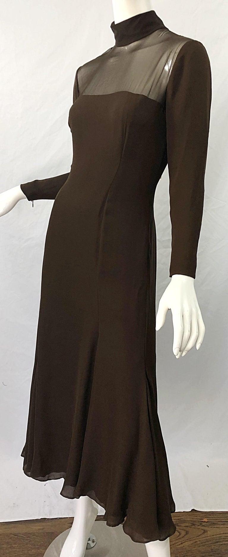 1970s Nolan Miller Couture Chocolate Brown Silk Chiffon Vintage 70s Midi Dress For Sale 6