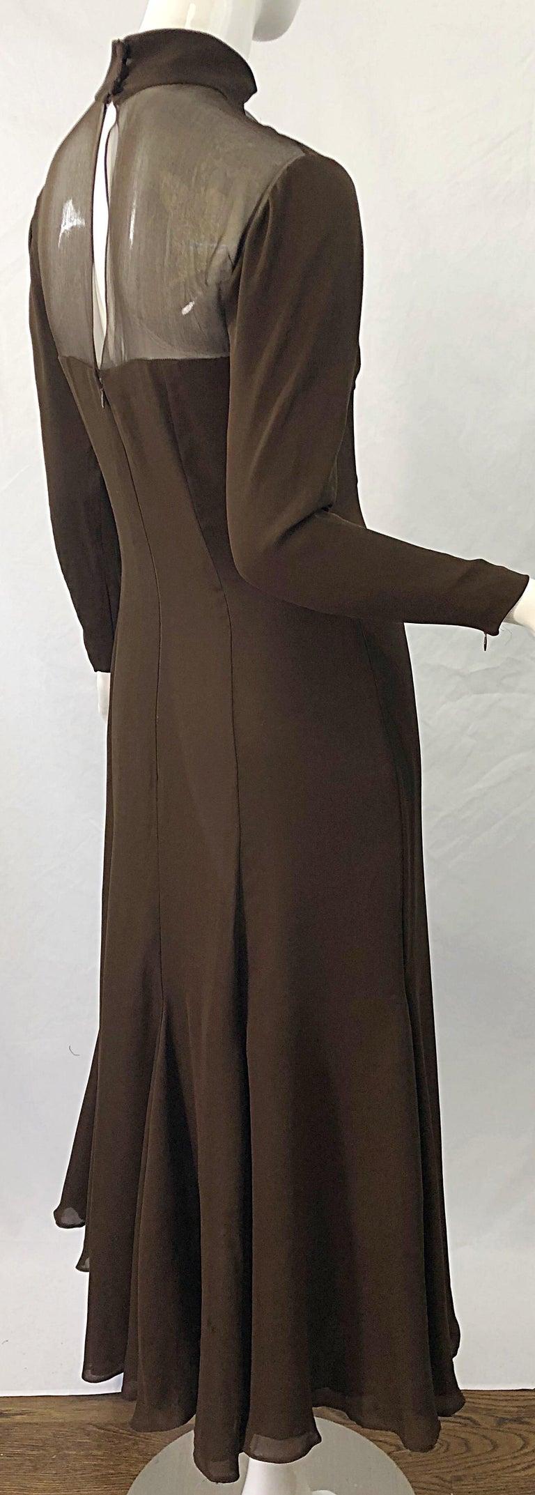 1970s Nolan Miller Couture Chocolate Brown Silk Chiffon Vintage 70s Midi Dress For Sale 7
