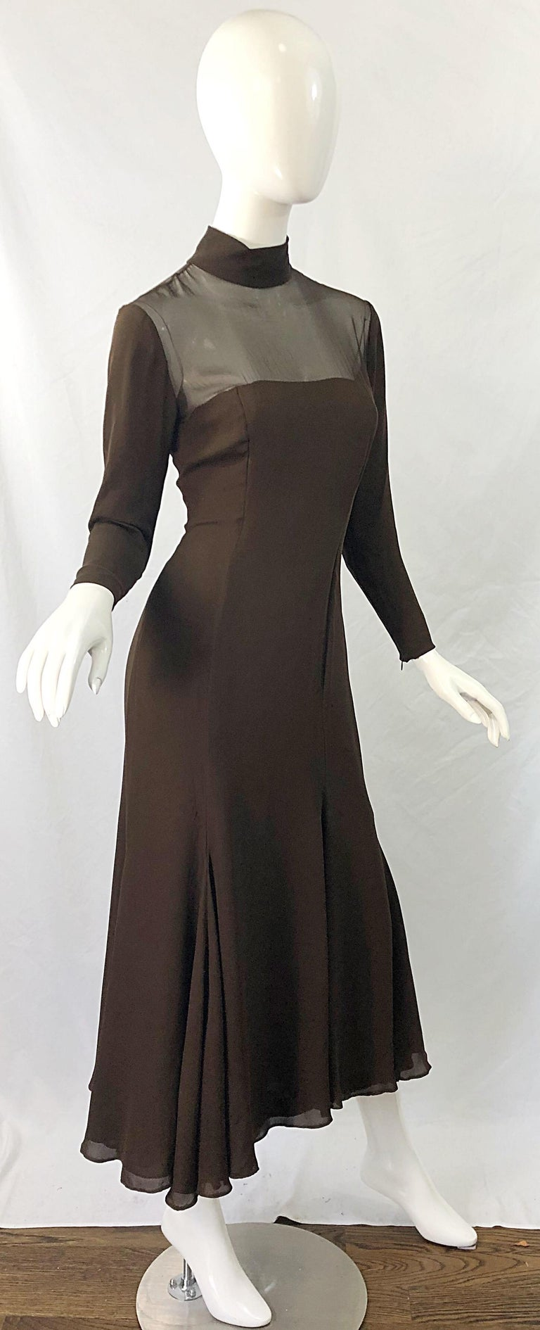1970s Nolan Miller Couture Chocolate Brown Silk Chiffon Vintage 70s Midi Dress For Sale 8