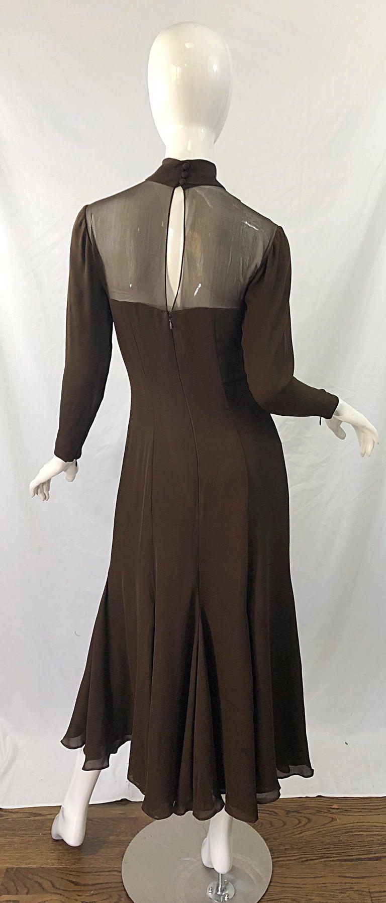 1970s Nolan Miller Couture Chocolate Brown Silk Chiffon Vintage 70s Midi Dress For Sale 9
