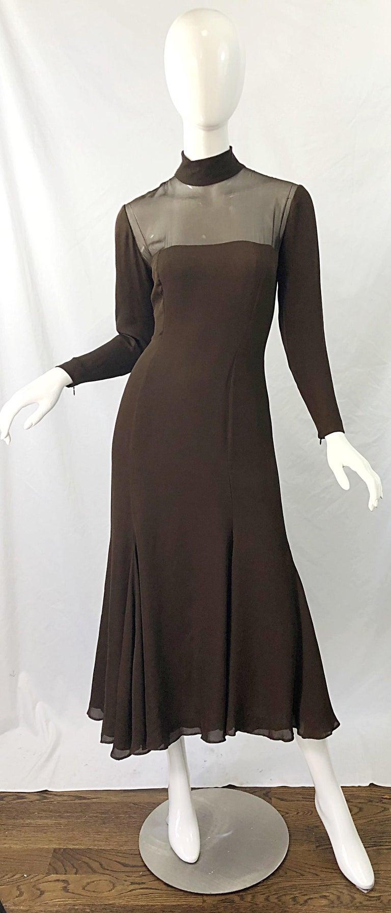 1970s Nolan Miller Couture Chocolate Brown Silk Chiffon Vintage 70s Midi Dress For Sale 10