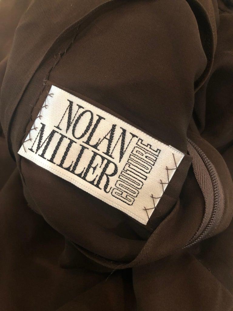 Black 1970s Nolan Miller Couture Chocolate Brown Silk Chiffon Vintage 70s Midi Dress For Sale