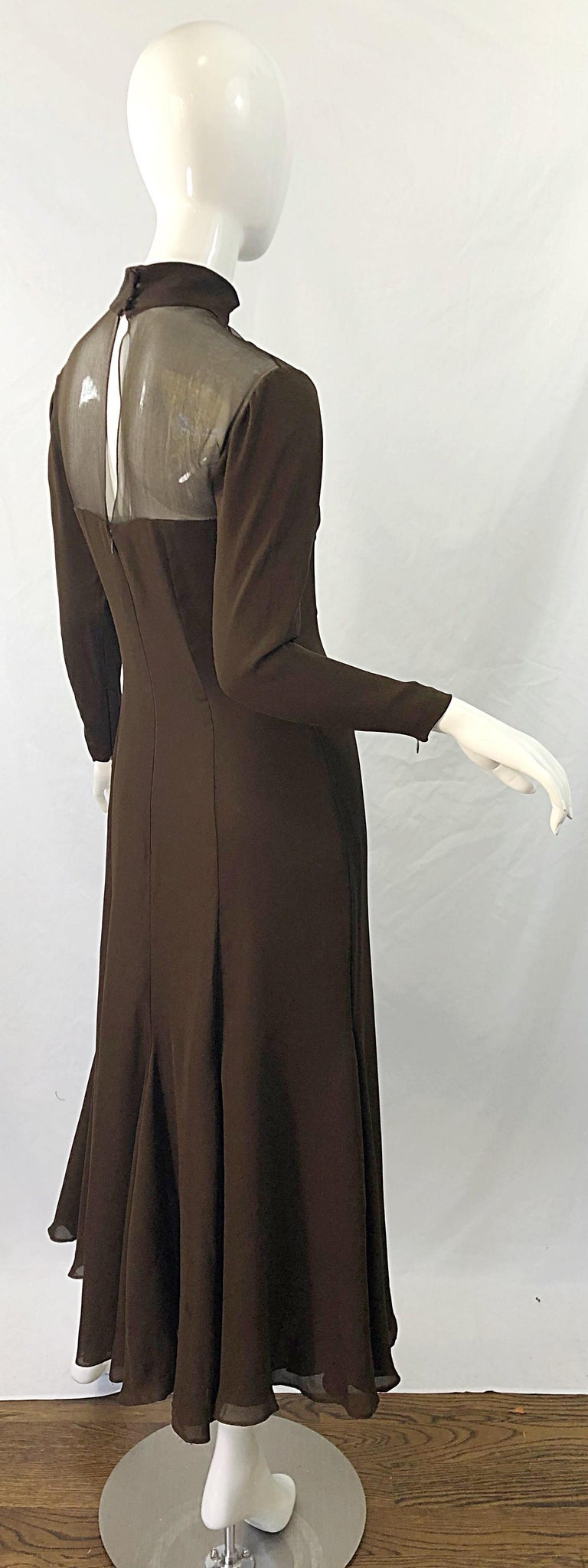 1970s Nolan Miller Couture Chocolate Brown Silk Chiffon Vintage 70s Midi Dress In Excellent Condition For Sale In Chicago, IL