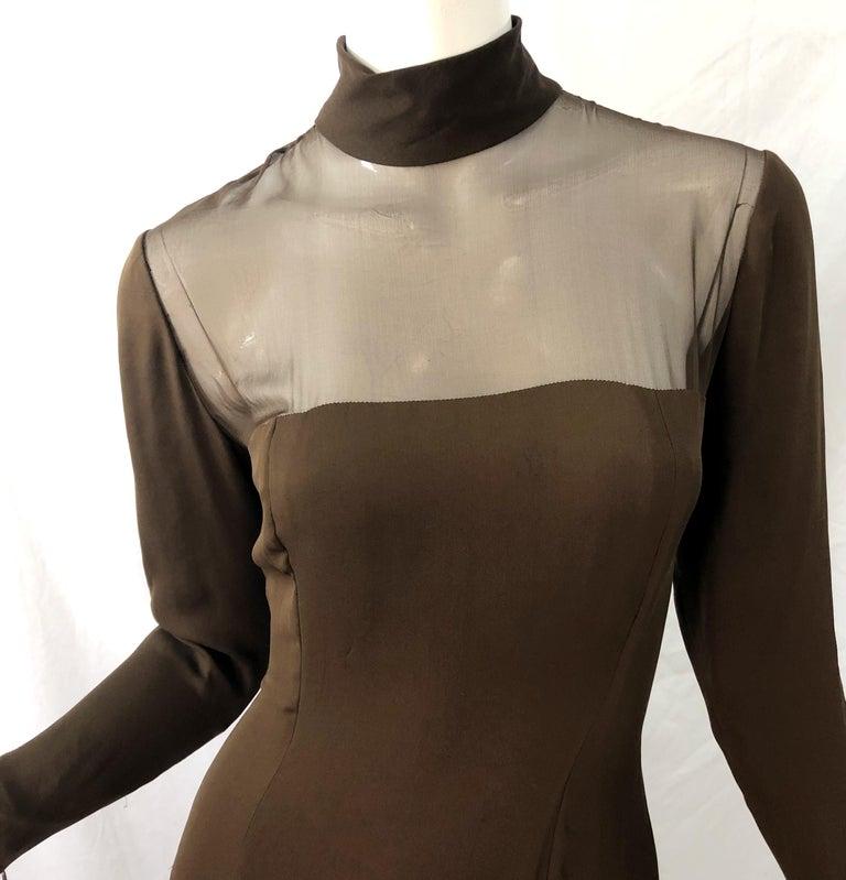Women's 1970s Nolan Miller Couture Chocolate Brown Silk Chiffon Vintage 70s Midi Dress For Sale