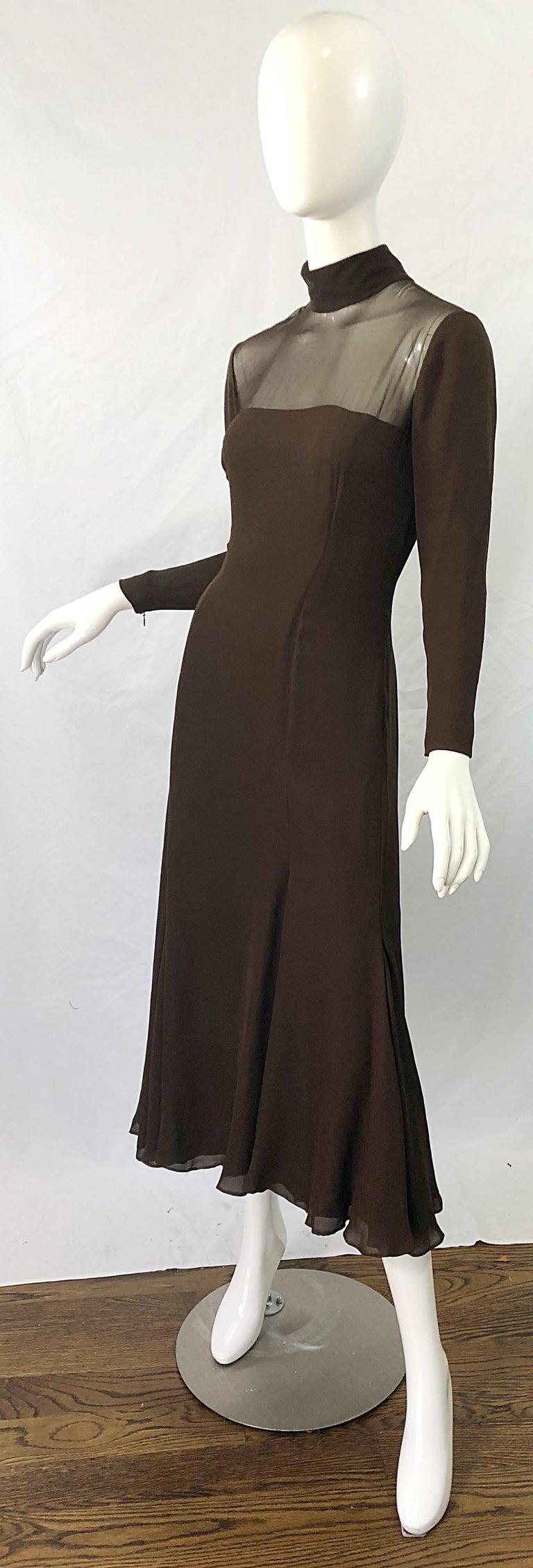 1970s Nolan Miller Couture Chocolate Brown Silk Chiffon Vintage 70s Midi Dress For Sale 1