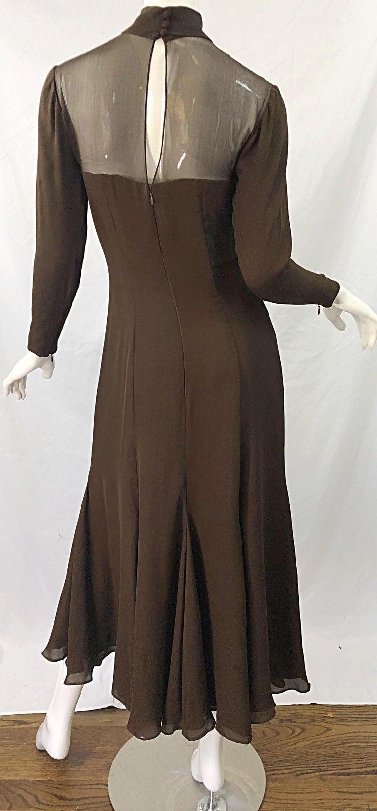 1970s Nolan Miller Couture Chocolate Brown Silk Chiffon Vintage 70s Midi Dress For Sale 2