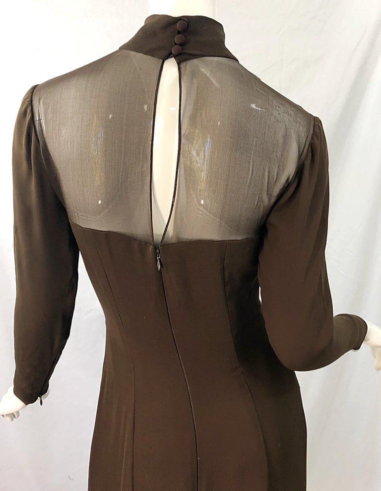 1970s Nolan Miller Couture Chocolate Brown Silk Chiffon Vintage 70s Midi Dress For Sale 3