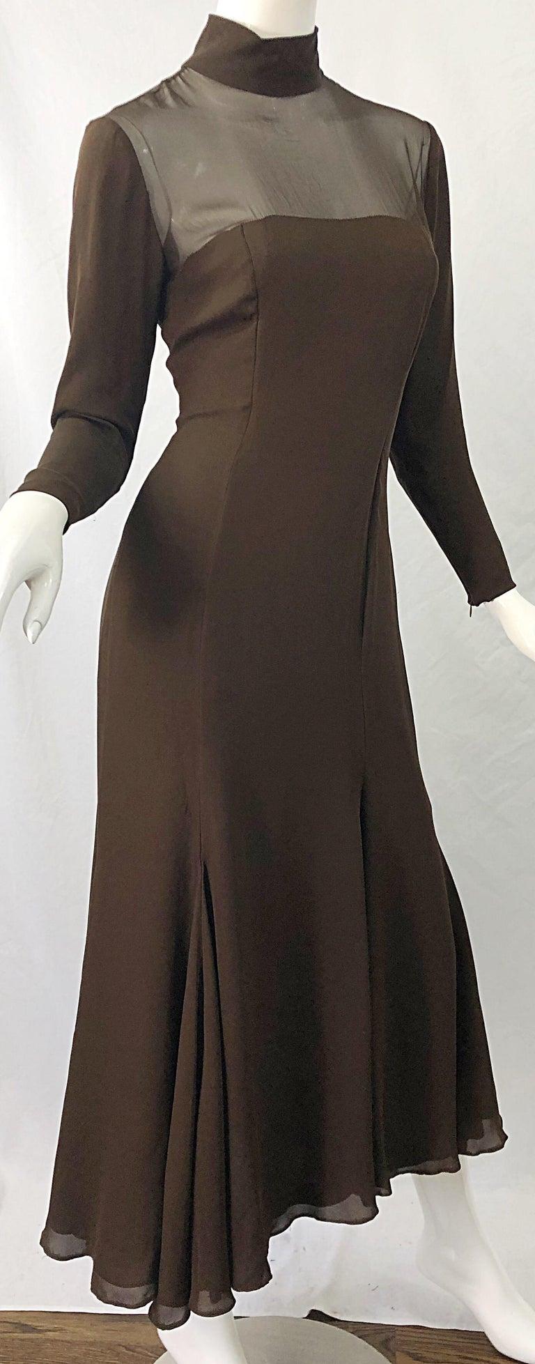 1970s Nolan Miller Couture Chocolate Brown Silk Chiffon Vintage 70s Midi Dress For Sale 4