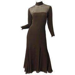 1970s Nolan Miller Couture Chocolate Brown Silk Chiffon Vintage 70s Midi Dress