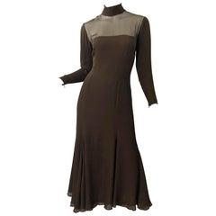 1970s Nolan Miller Couture Chocolate Brown Silk Chiffon Vintage 70s Midi Dress