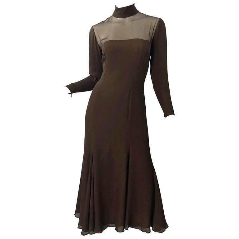 1970s Nolan Miller Couture Chocolate Brown Silk Chiffon Vintage 70s Midi Dress For Sale