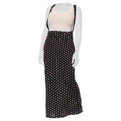 1970S NORMA KAMALI Black & White Polka Dot Poly/Lycra Jersey Body-Con High Waist