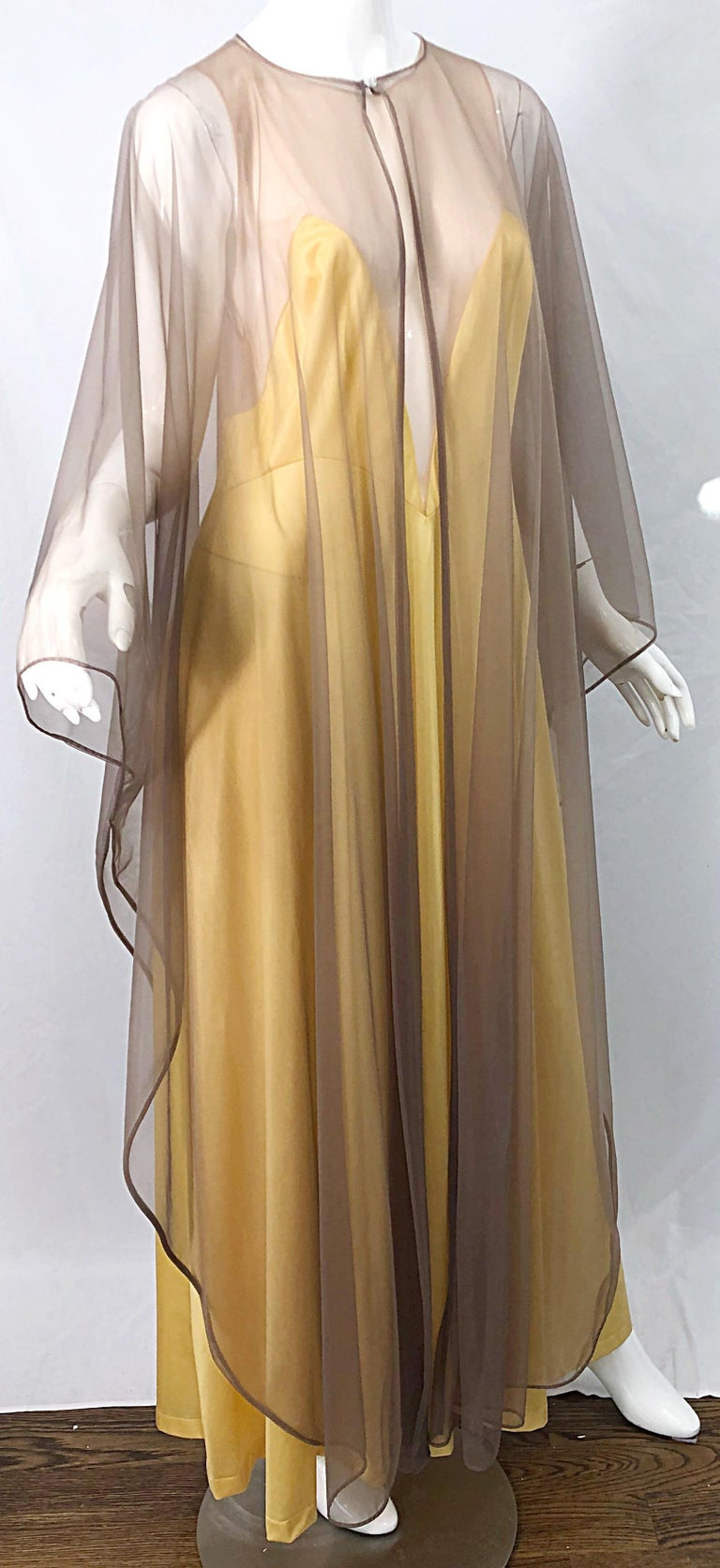 1970s Nude Sheer Caftan and Large Size Yellow Vintage 70s Nightgown Maxi Dress 6