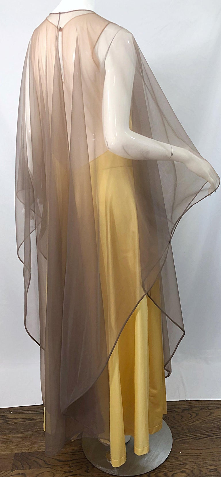 1970s Nude Sheer Caftan and Large Size Yellow Vintage 70s Nightgown Maxi Dress 7