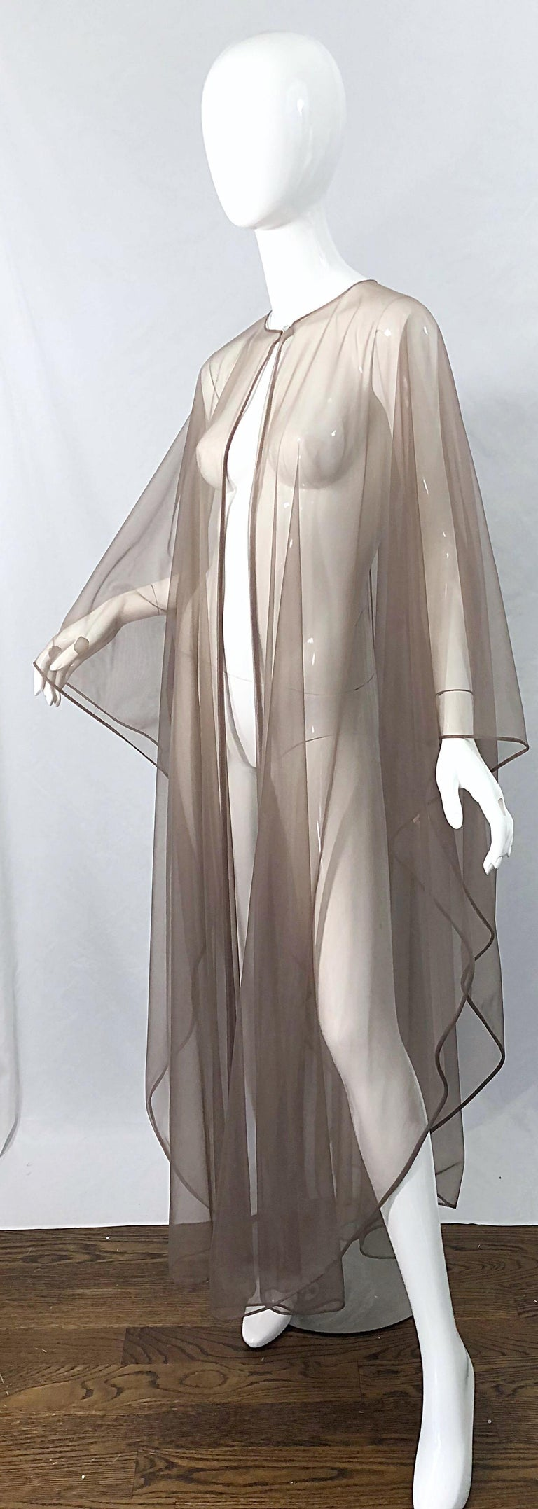 1970s Nude Sheer Caftan and Large Size Yellow Vintage 70s Nightgown Maxi Dress 8