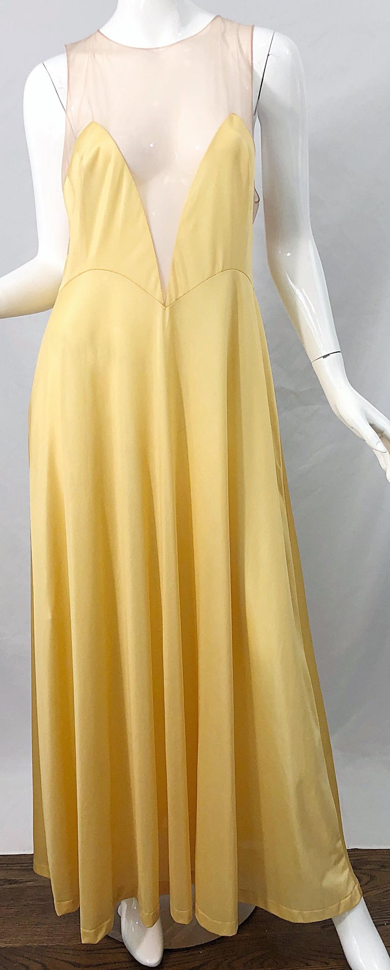 1970s Nude Sheer Caftan and Large Size Yellow Vintage 70s Nightgown Maxi Dress 9