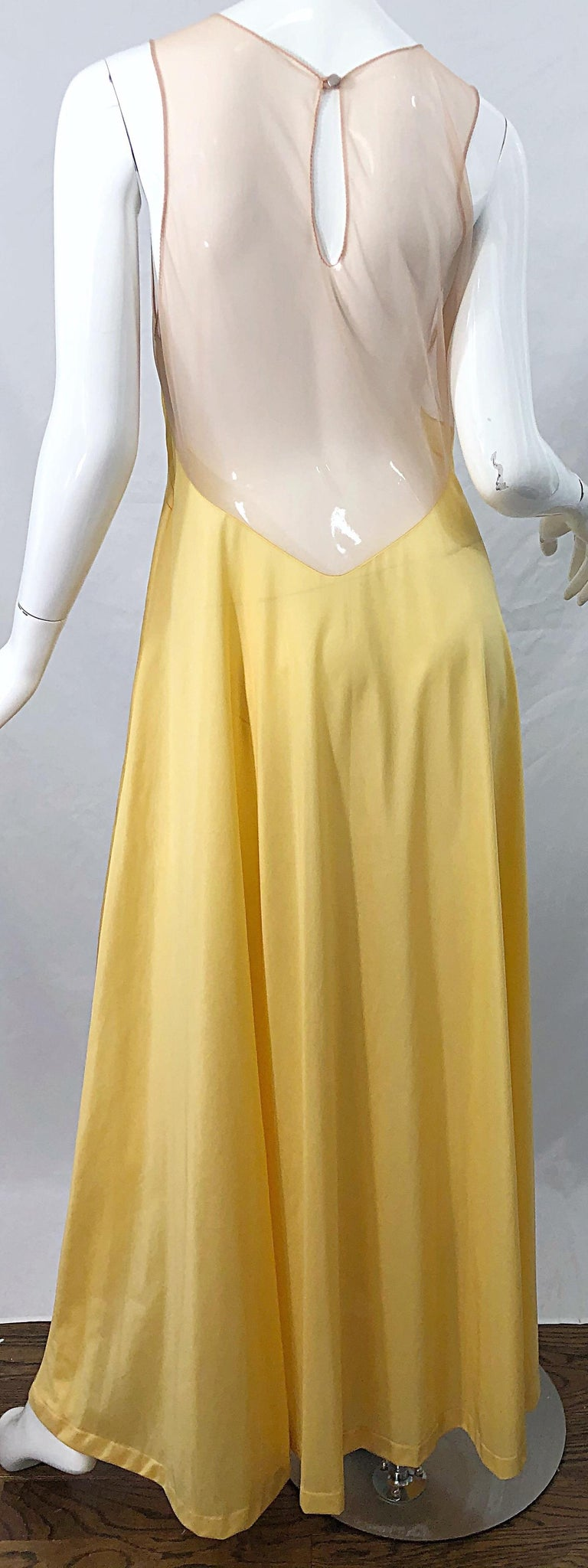 1970s Nude Sheer Caftan and Large Size Yellow Vintage 70s Nightgown Maxi Dress 10