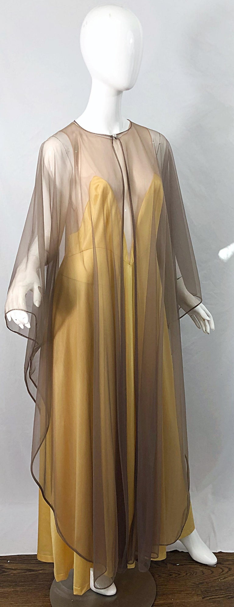 1970s Nude Sheer Caftan and Large Size Yellow Vintage 70s Nightgown Maxi Dress 11