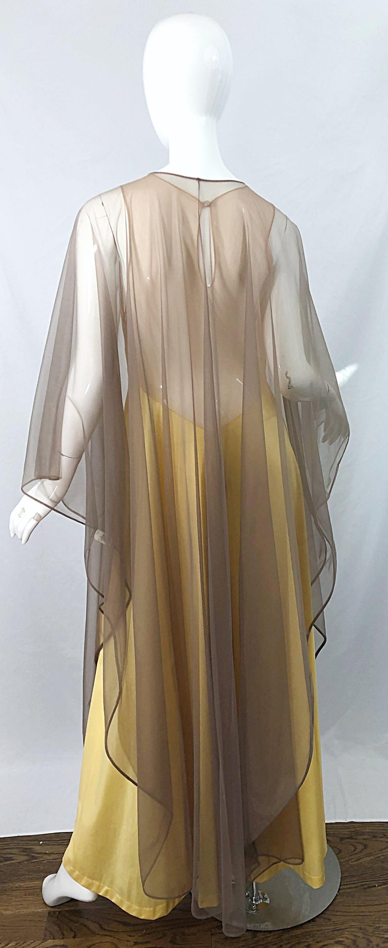 1970s Nude Sheer Caftan and Large Size Yellow Vintage 70s Nightgown Maxi Dress 12
