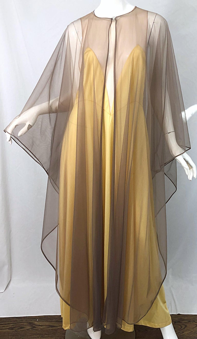 1970s Nude Sheer Caftan and Large Size Yellow Vintage 70s Nightgown Maxi Dress 14
