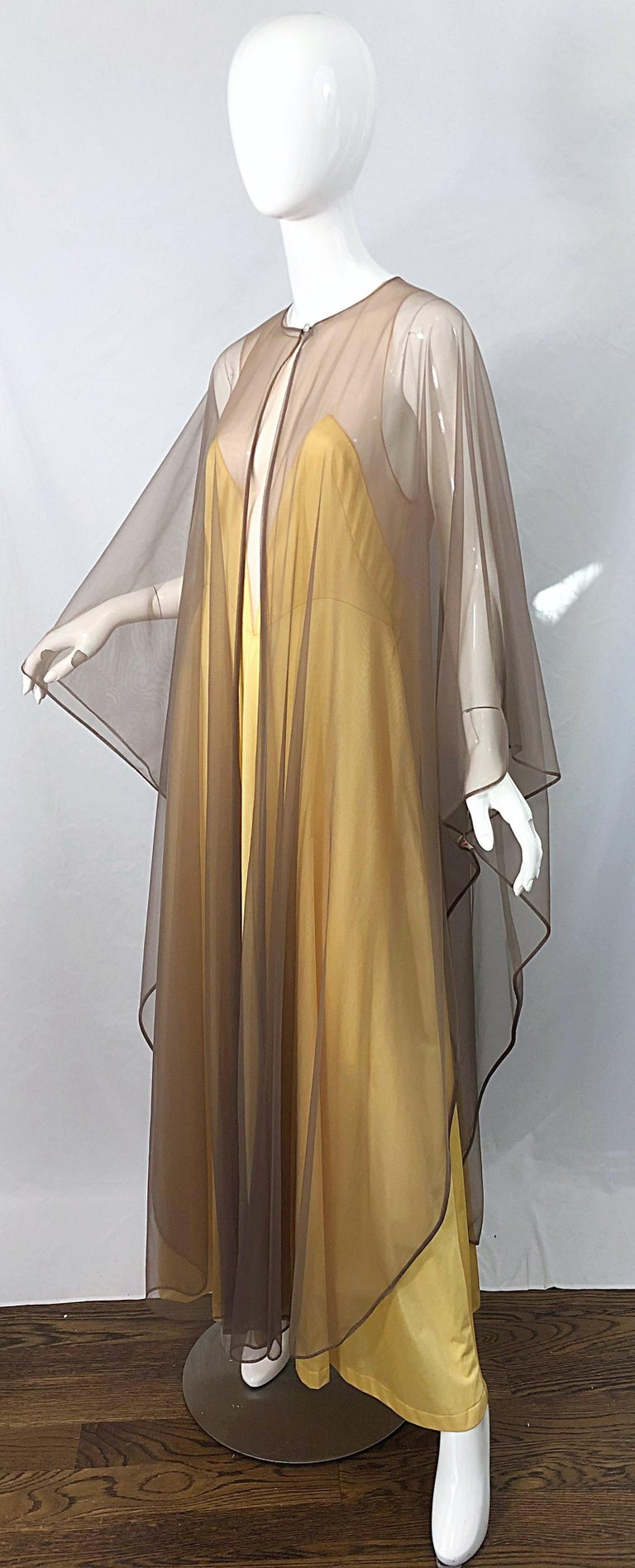 1970s Nude Sheer Caftan and Large Size Yellow Vintage 70s Nightgown Maxi Dress 15