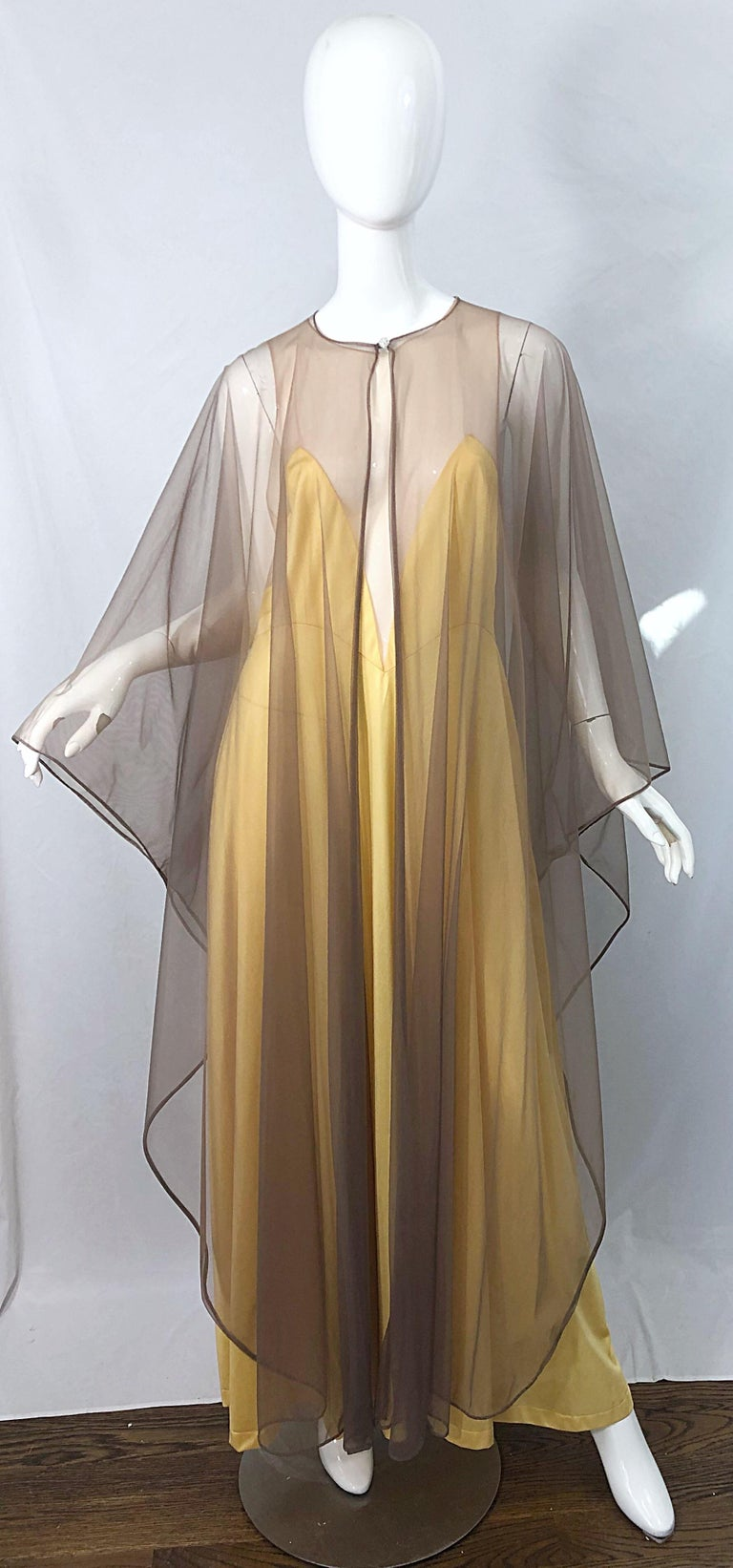 1970s Nude Sheer Caftan and Large Size Yellow Vintage 70s Nightgown Maxi Dress 16