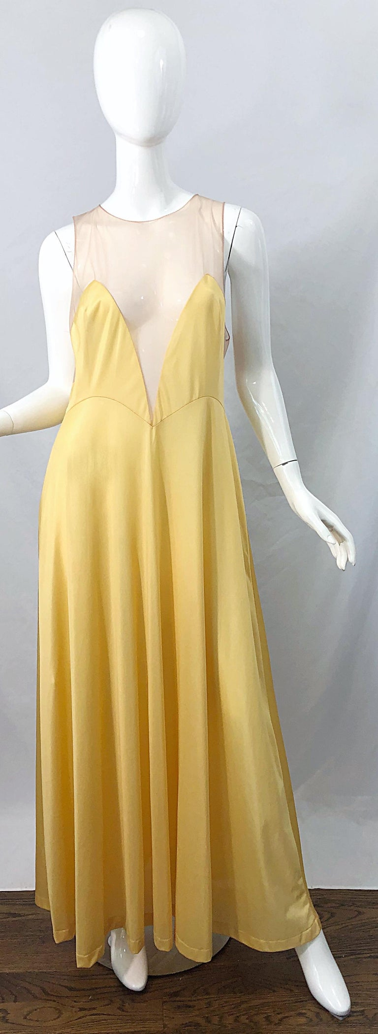 1970s Nude Sheer Caftan and Large Size Yellow Vintage 70s Nightgown Maxi Dress In Excellent Condition In Chicago, IL