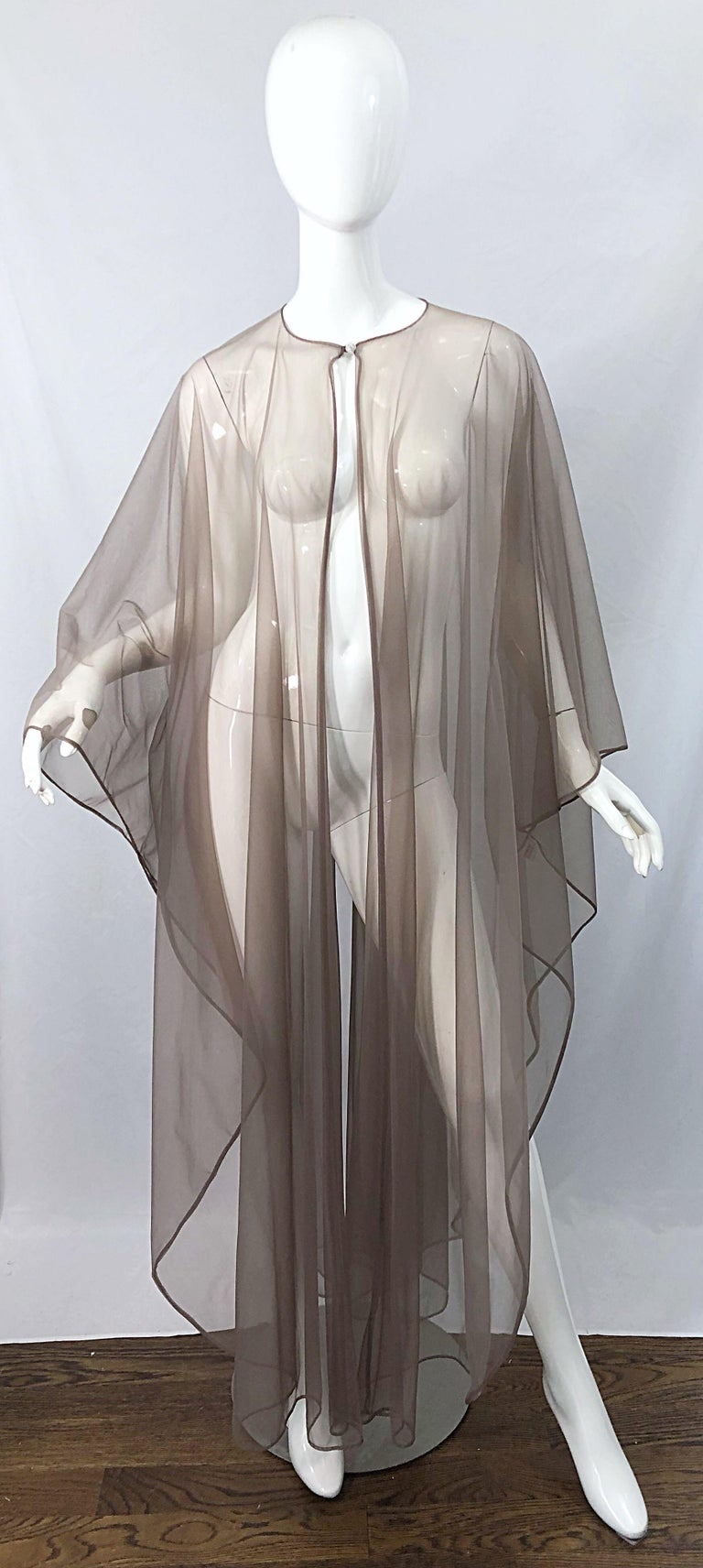 Women's 1970s Nude Sheer Caftan and Large Size Yellow Vintage 70s Nightgown Maxi Dress