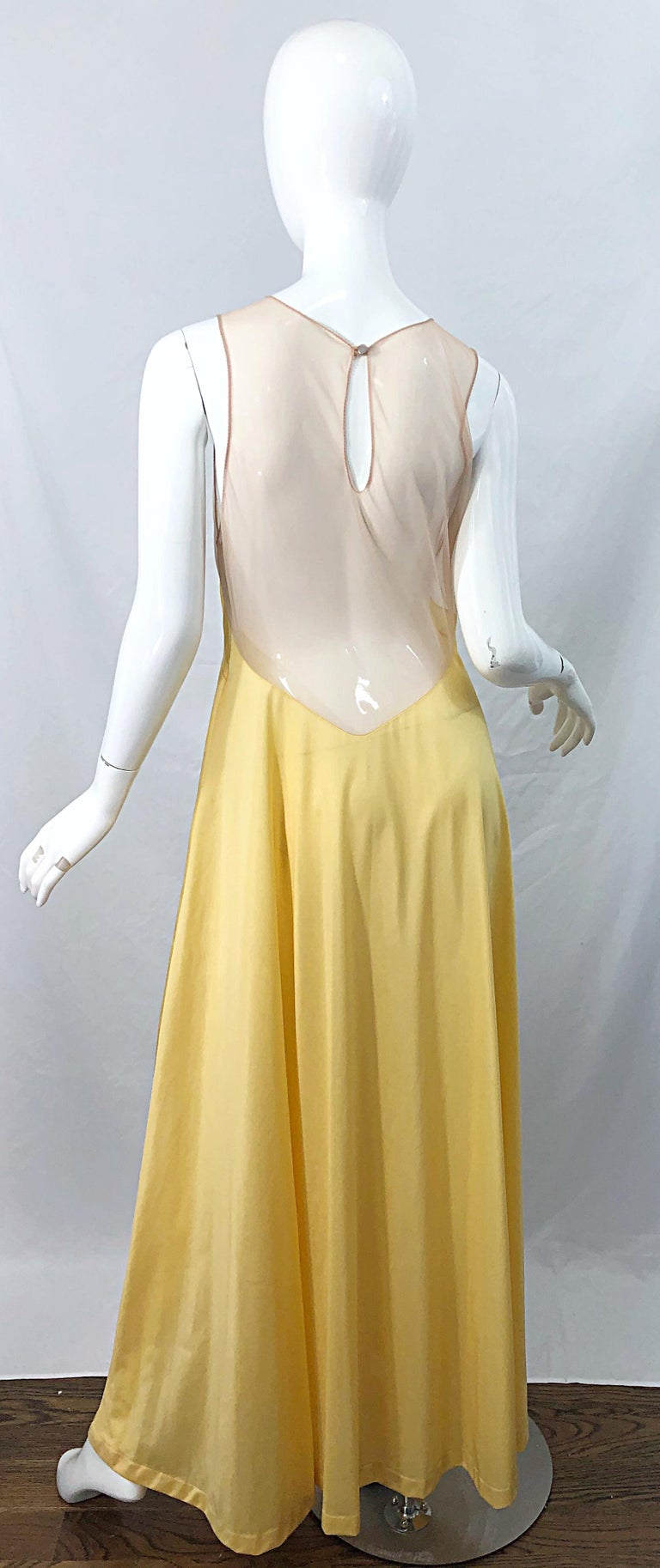 1970s Nude Sheer Caftan and Large Size Yellow Vintage 70s Nightgown Maxi Dress 1