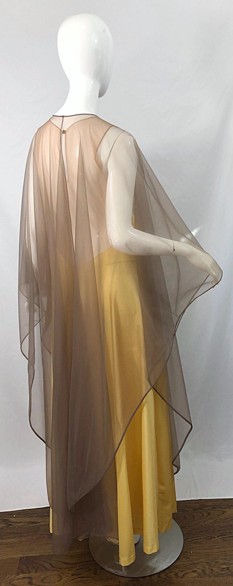1970s Nude Sheer Caftan and Large Size Yellow Vintage 70s Nightgown Maxi Dress 2