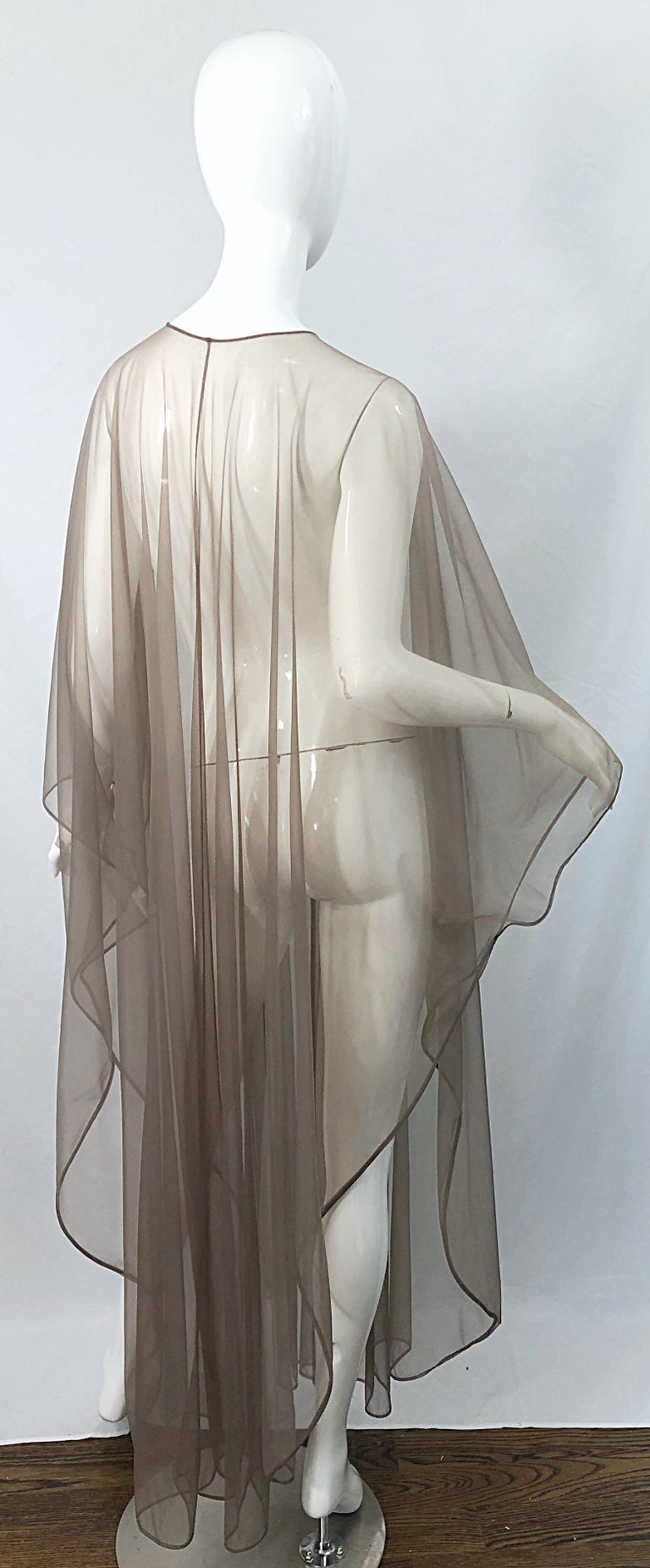 1970s Nude Sheer Caftan and Large Size Yellow Vintage 70s Nightgown Maxi Dress 3