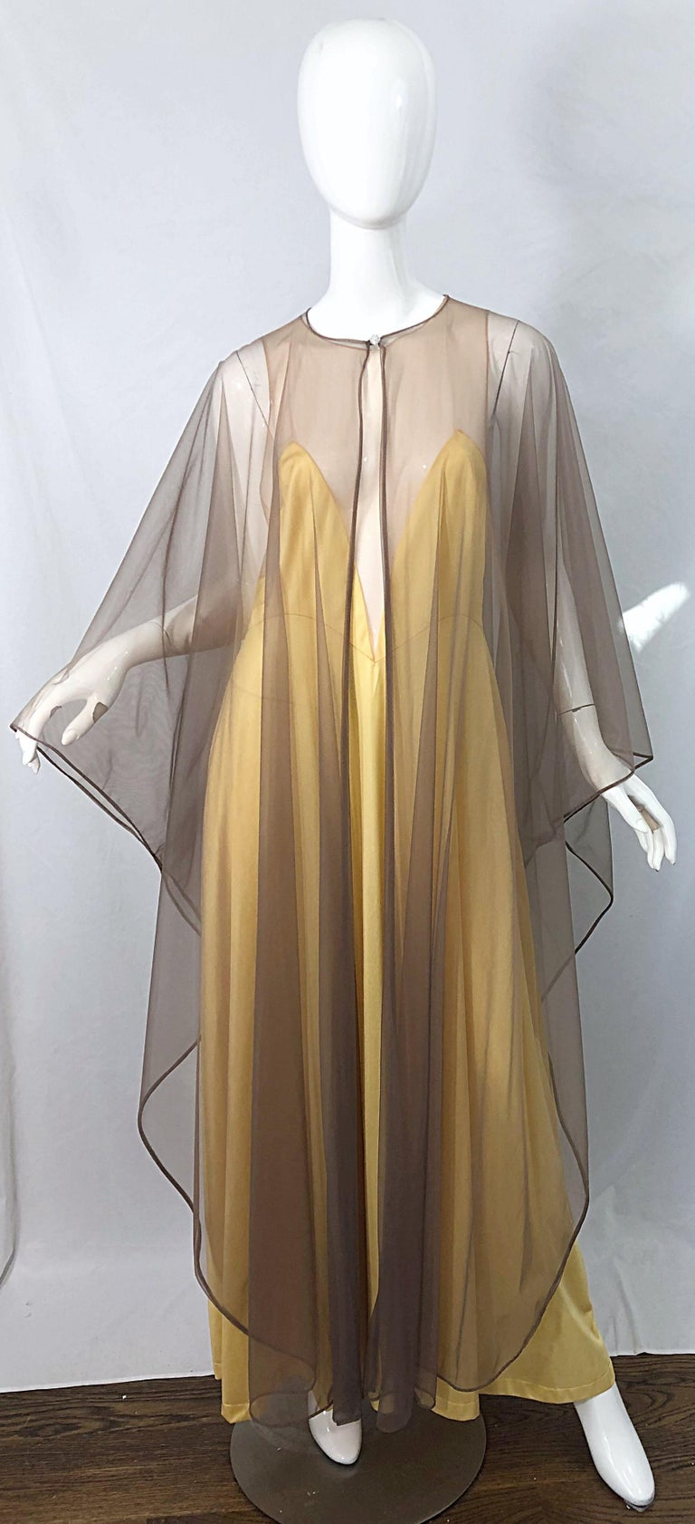 1970s Nude Sheer Caftan and Large Size Yellow Vintage 70s Nightgown Maxi Dress 4