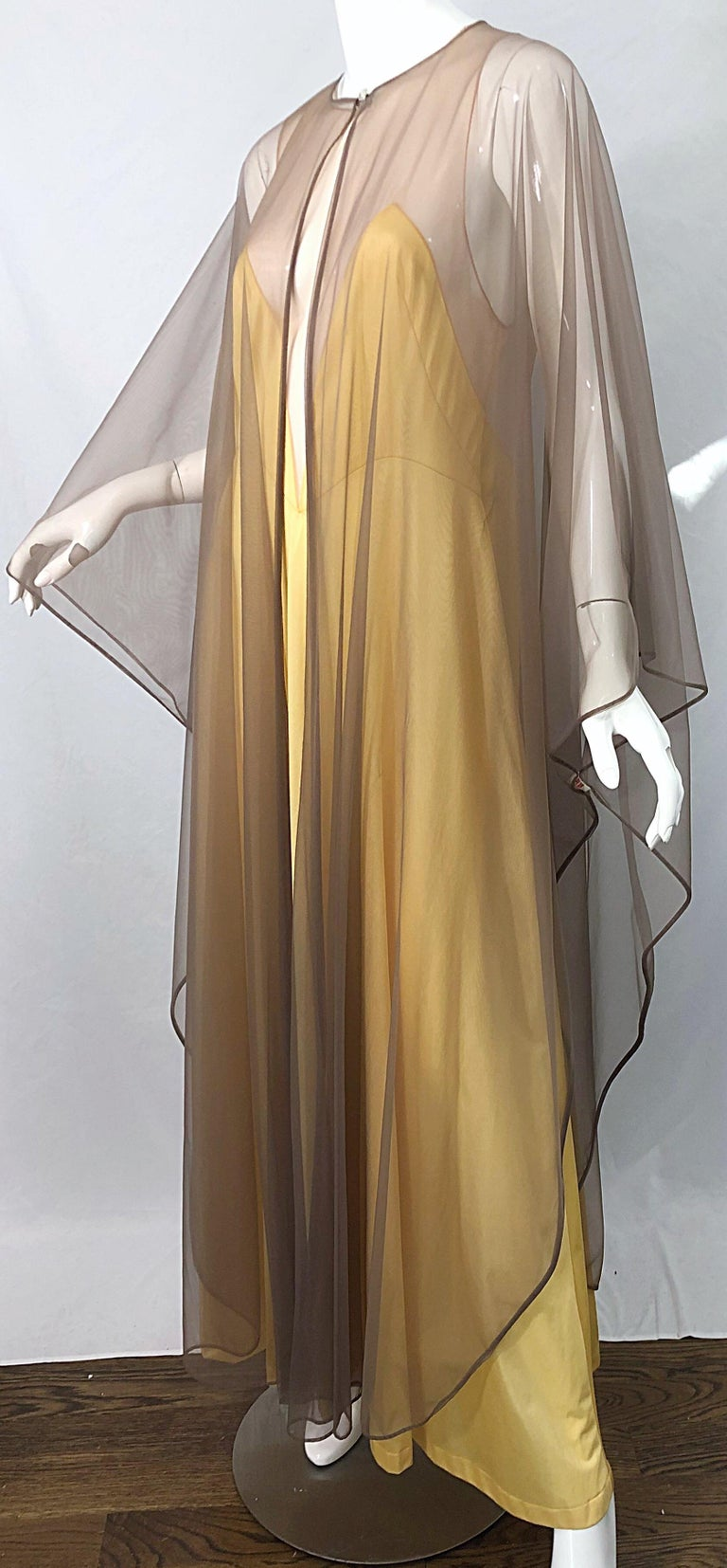 1970s Nude Sheer Caftan and Large Size Yellow Vintage 70s Nightgown Maxi Dress 5