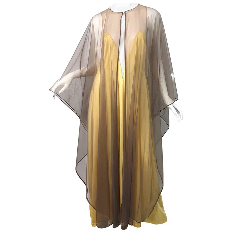 1970s Nude Sheer Caftan and Large Size Yellow Vintage 70s Nightgown Maxi Dress