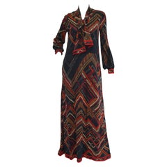 1970s Leonard Black and Red Abstract Tribal Print Nylon Jersey Dress NWT
