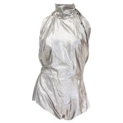 1970s NWT Pauline Trigere Silver Lame Halter Romper with Plunging Back, NWT