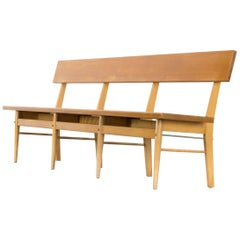 1970s Oak and Birch Long Wooden Bench