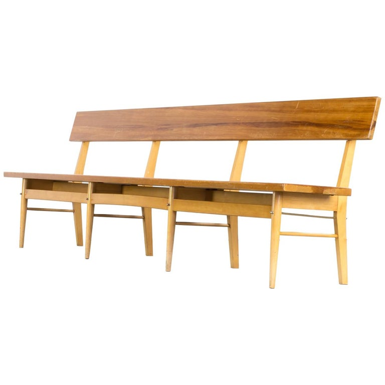 Fine 1970S Oak And Birch Long Wooden Bench For Sale At 1Stdibs Lamtechconsult Wood Chair Design Ideas Lamtechconsultcom