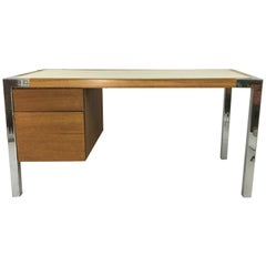 1970s Oak and Chrome Desk