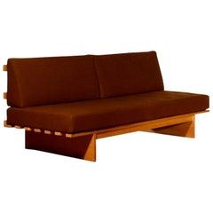 1970s Oak and Wool Sofa or Sleeper by Bra Bohag for DUX