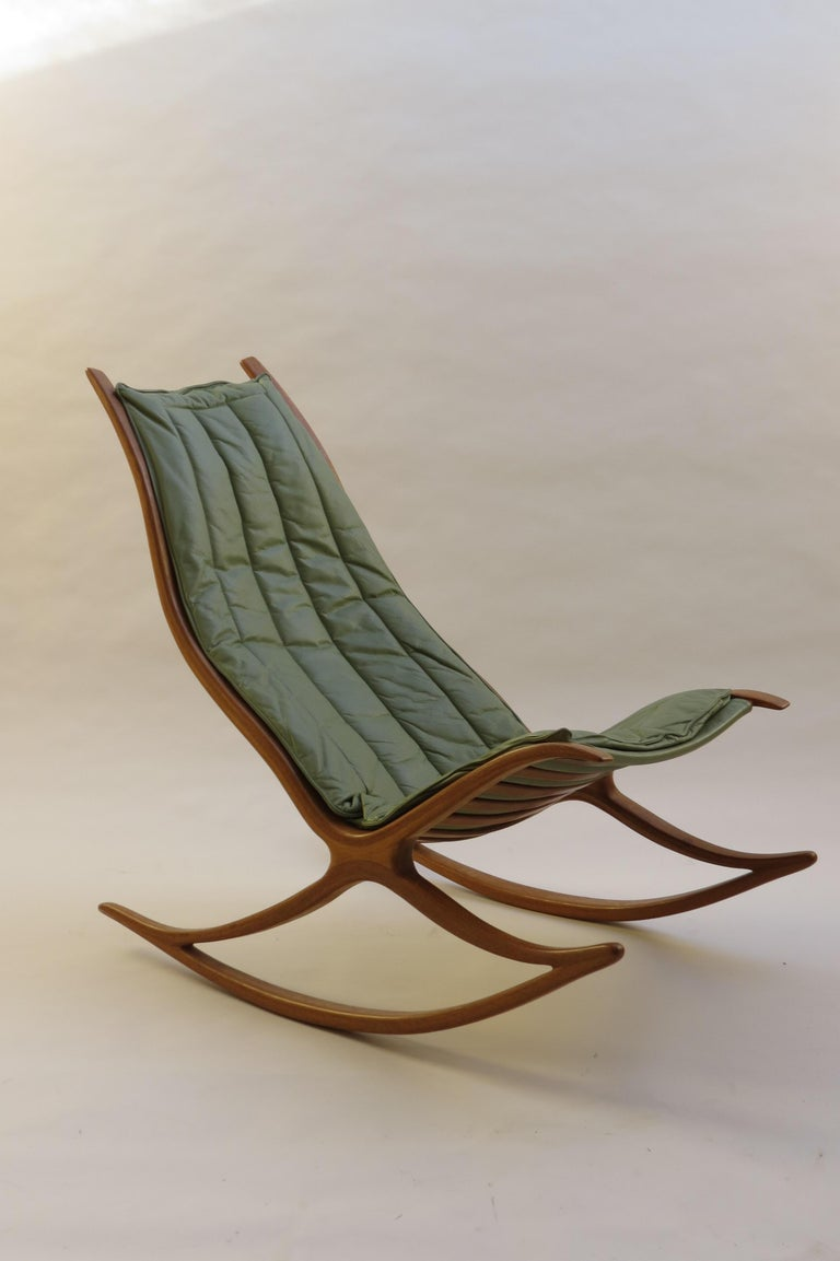 English 1970s Oak Wishbone Hand produced Sculptural Rocking Chair by Robin Williams UK For Sale