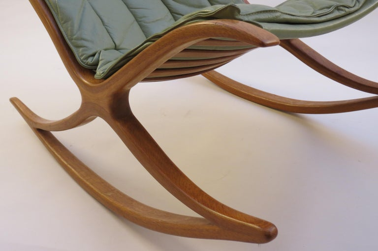 Leather 1970s Oak Wishbone Hand produced Sculptural Rocking Chair by Robin Williams UK For Sale