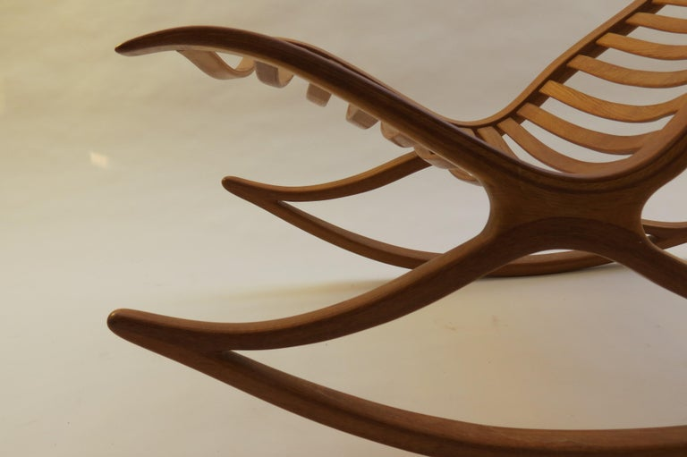 1970s Oak Wishbone Hand produced Sculptural Rocking Chair by Robin Williams UK For Sale 1