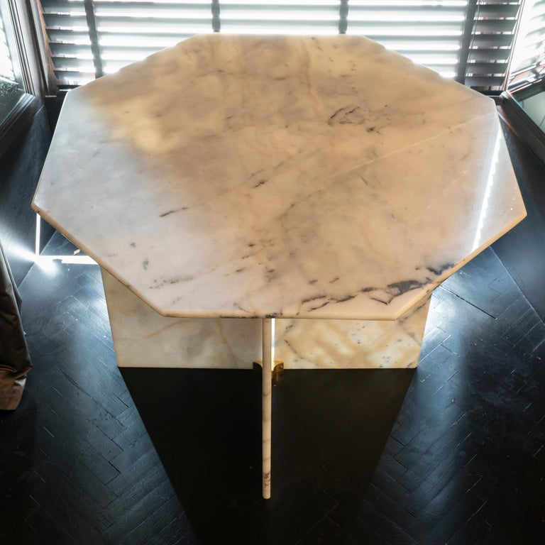 Late 20th Century 1970s Italian Octagonal Arabescato Cervaiole Marble Table For Sale