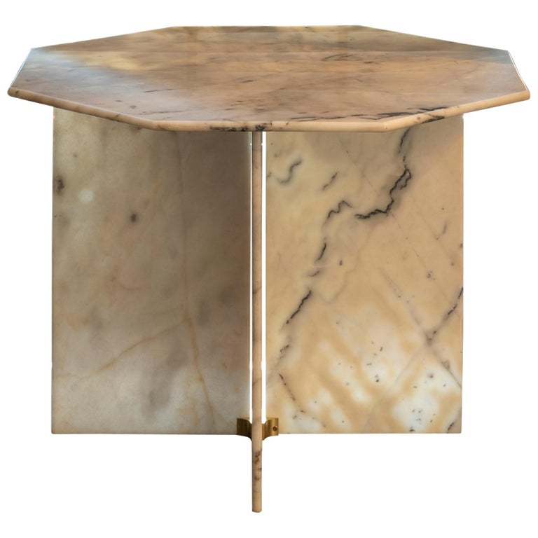 1970s Italian Octagonal Arabescato Cervaiole Marble Table For Sale