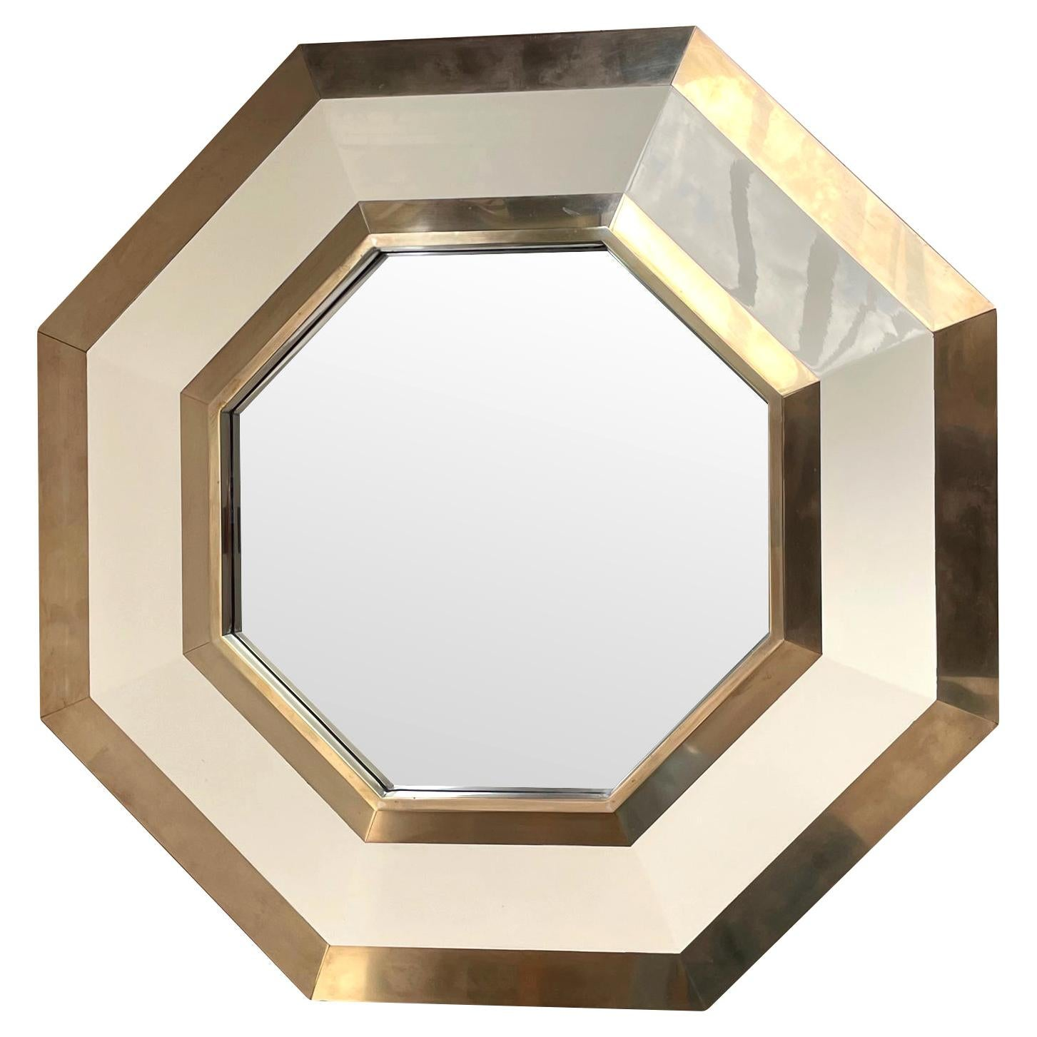 1970s Octagonal Brass and Ivory Lacquer Mirror by Jean Claude Mahey