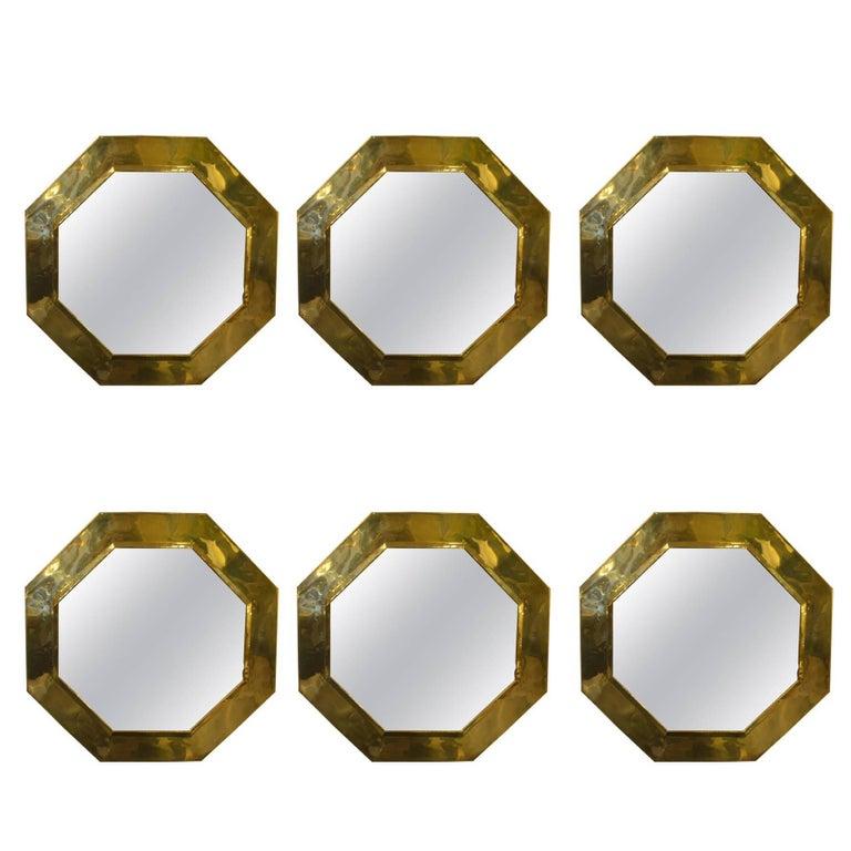 1970s Octagonal Brass Frame Mirrors