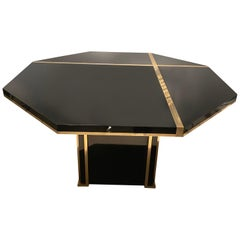 1970s Octogonal Dinning Table in Black Laquered and Brass Details