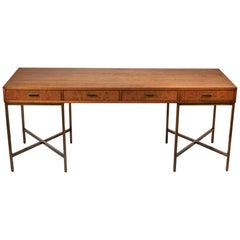 1970s Oil Rubbed Bronzed and Speckled Ash Writing Desk by Mastercraft